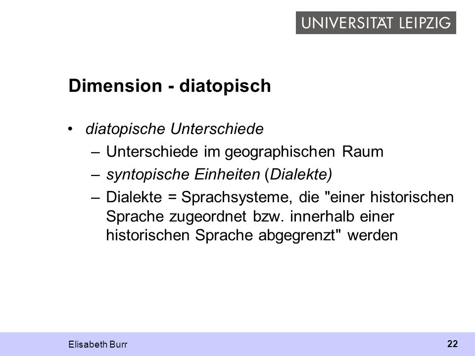 Dimension - diatopisch