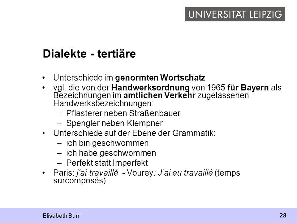 Dialekte - tertiäre Unterschiede im genormten Wortschatz