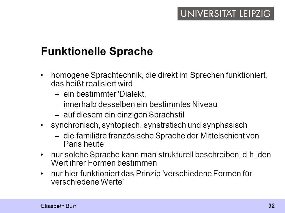 Funktionelle Sprache homogene Sprachtechnik, die direkt im Sprechen funktioniert, das heißt realisiert wird.