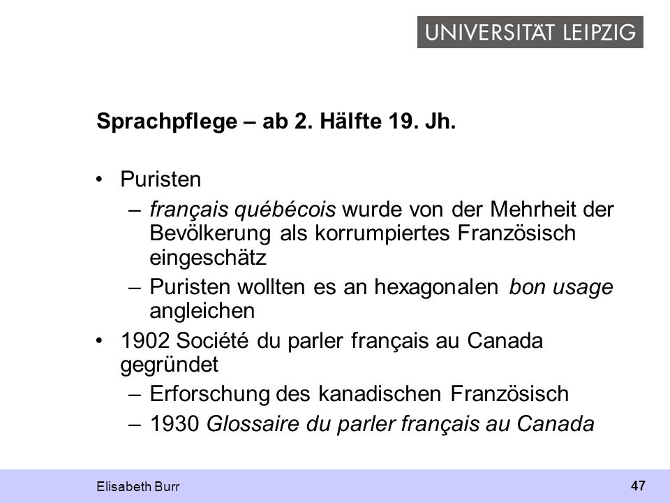Sprachpflege – ab 2. Hälfte 19. Jh.