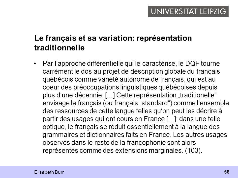 Le français et sa variation: représentation traditionnelle