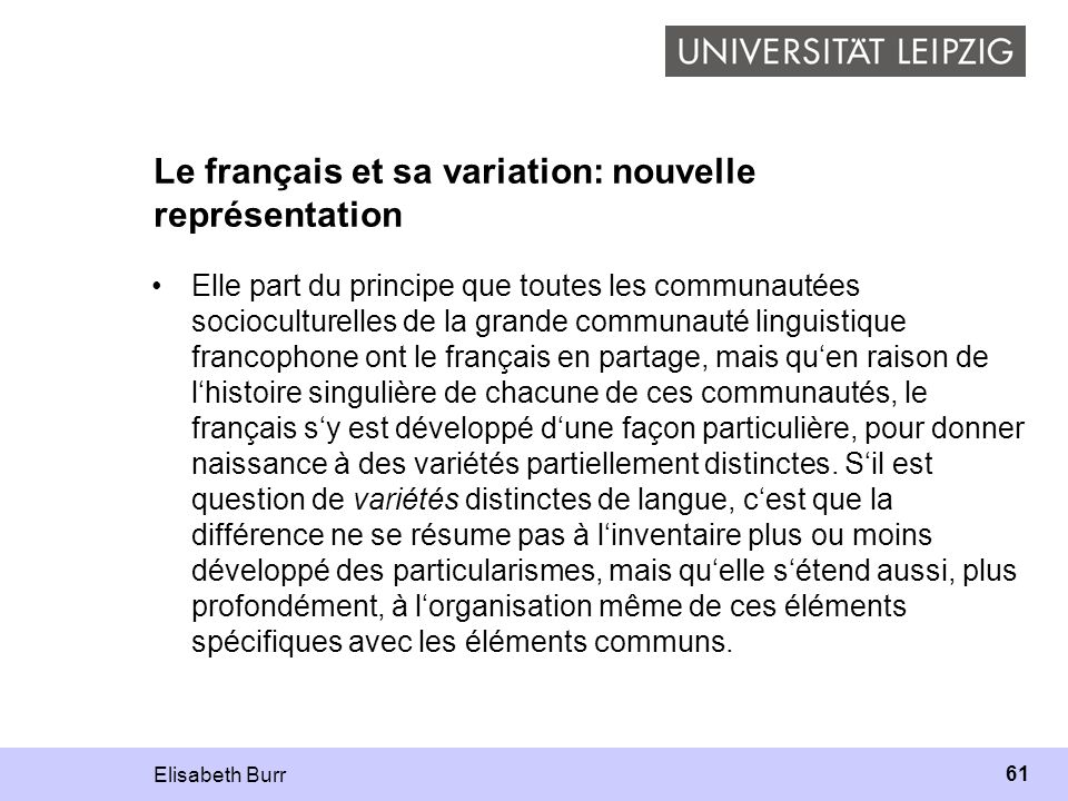 Le français et sa variation: nouvelle représentation