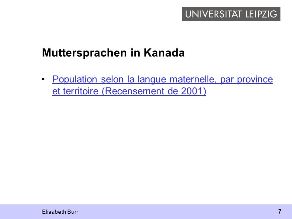 Muttersprachen in Kanada
