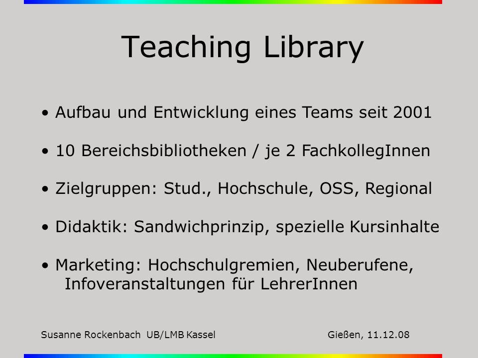 Teaching Library Aufbau und Entwicklung eines Teams seit 2001