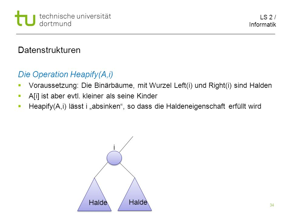 Datenstrukturen Die Operation Heapify(A,i)