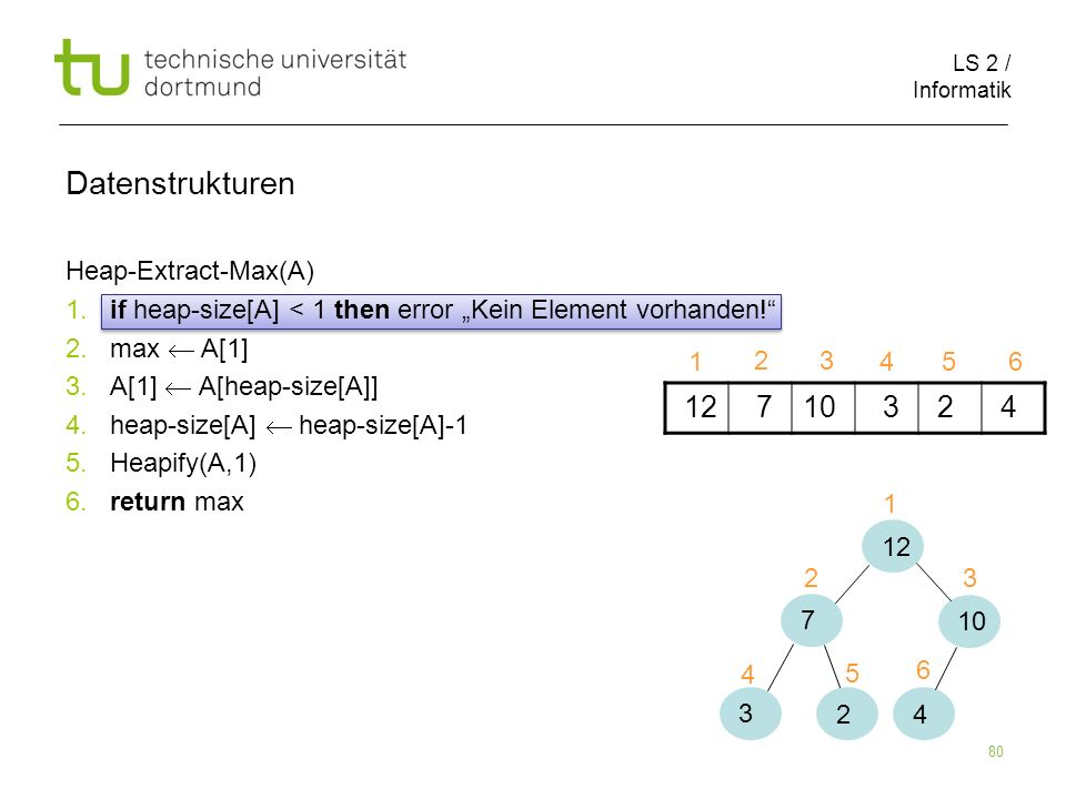 Datenstrukturen Heap-Extract-Max(A)