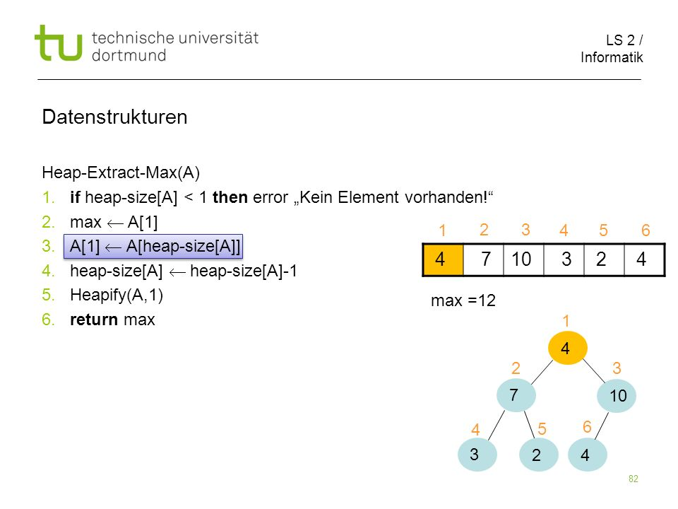 Datenstrukturen 4 7 10 3 2 Heap-Extract-Max(A)