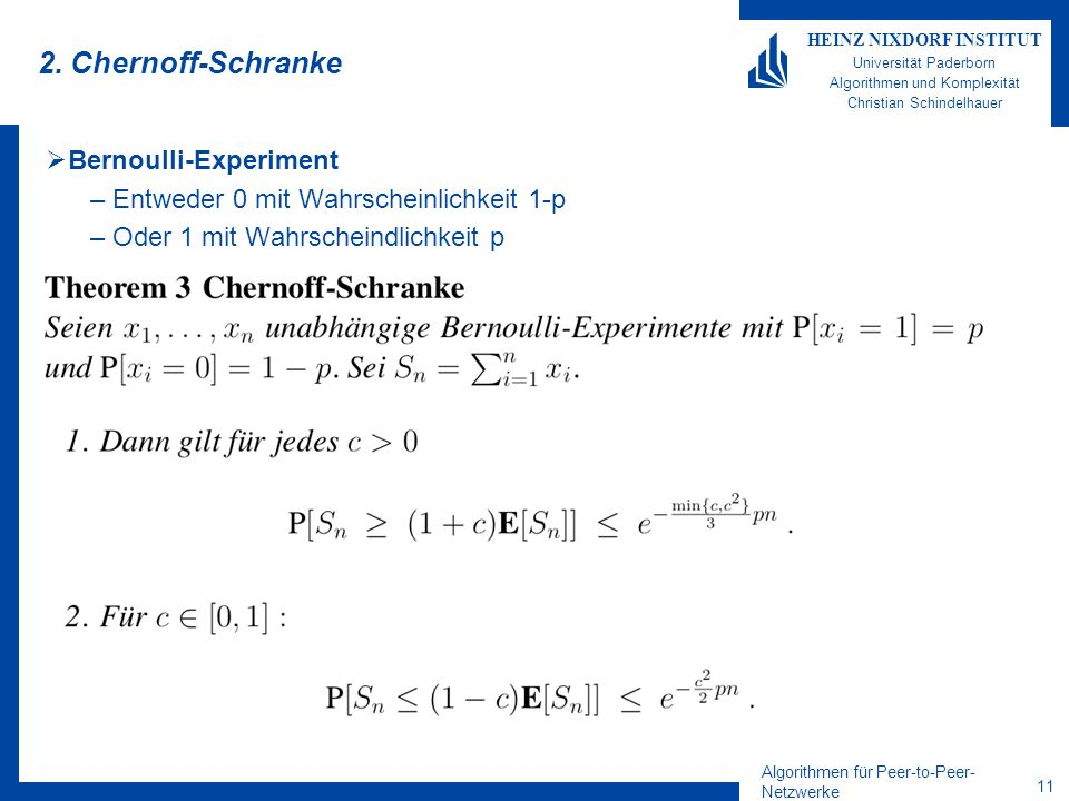 2. Chernoff-Schranke Bernoulli-Experiment