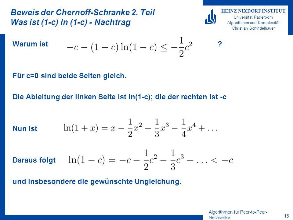 Beweis der Chernoff-Schranke 2. Teil Was ist (1-c) ln (1-c) - Nachtrag