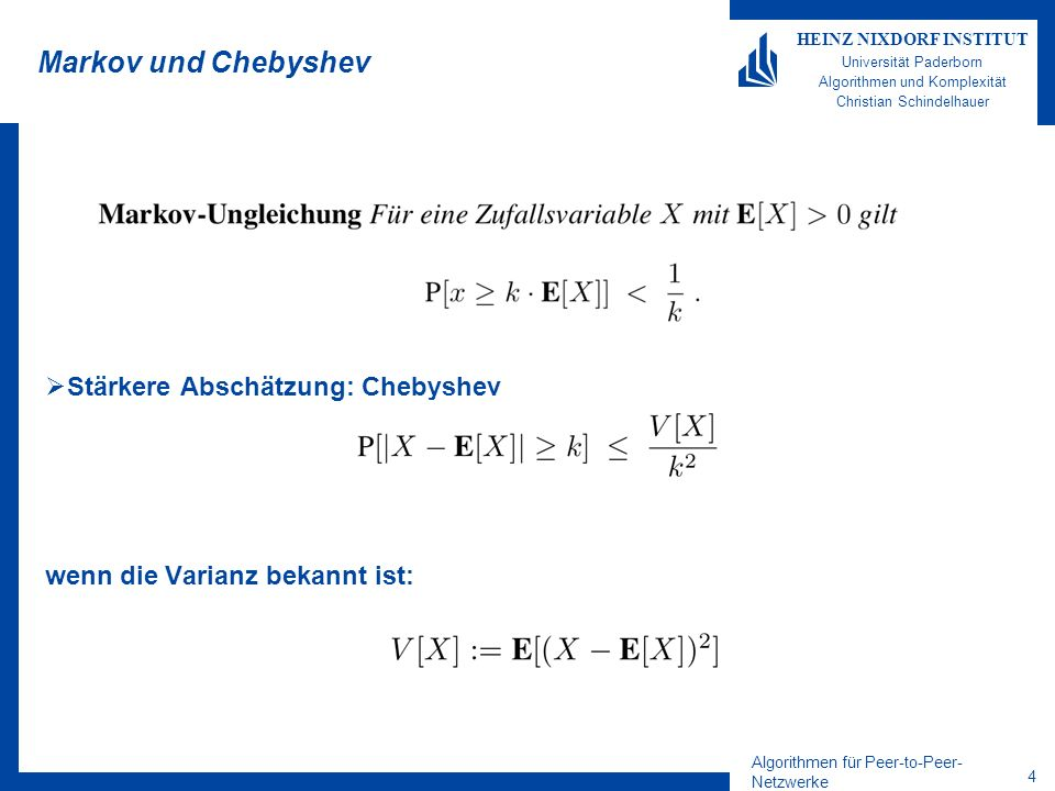 Markov und Chebyshev Stärkere Abschätzung: Chebyshev