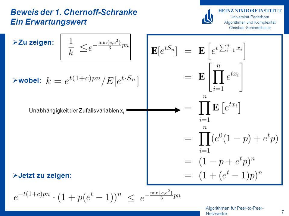 Beweis der 1. Chernoff-Schranke Ein Erwartungswert
