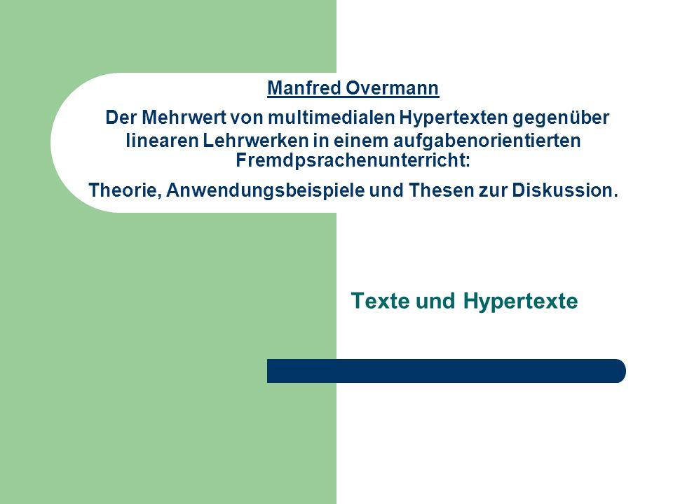 Manfred Overmann Texte und Hypertexte