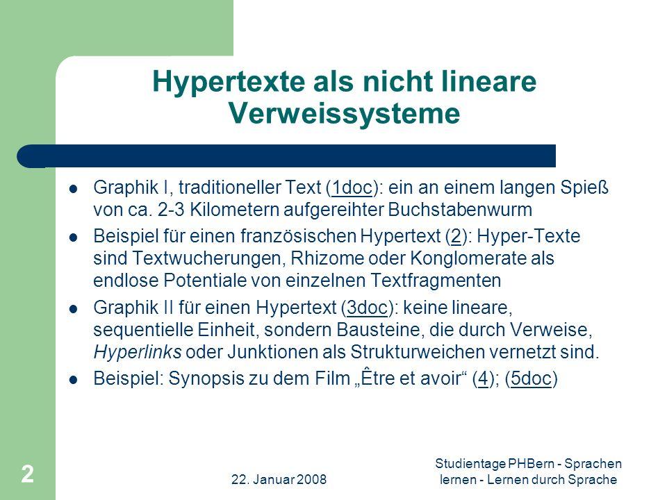 Hypertexte als nicht lineare Verweissysteme