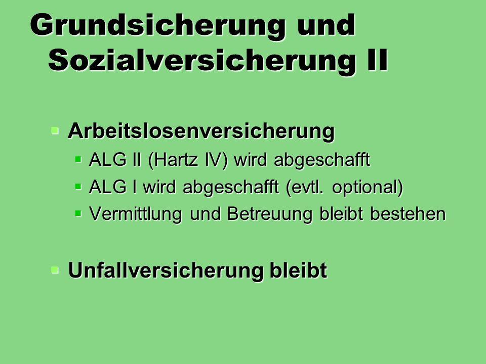 Grundsicherung und Sozialversicherung II