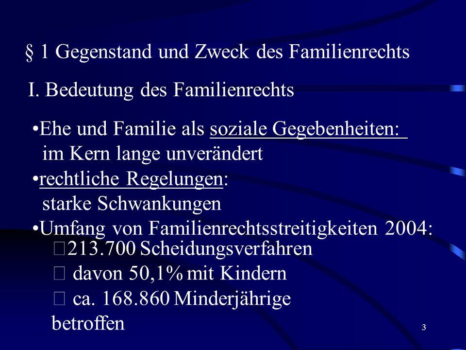 § 1 Gegenstand und Zweck des Familienrechts
