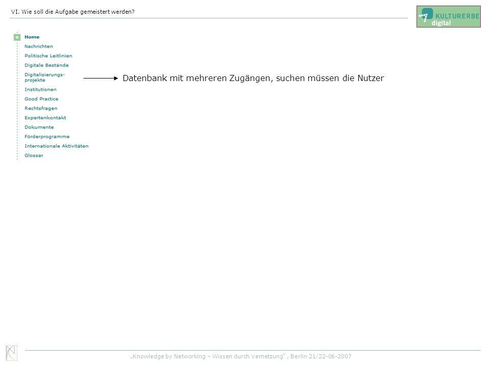 Datenbank mit mehreren Zugängen, suchen müssen die Nutzer