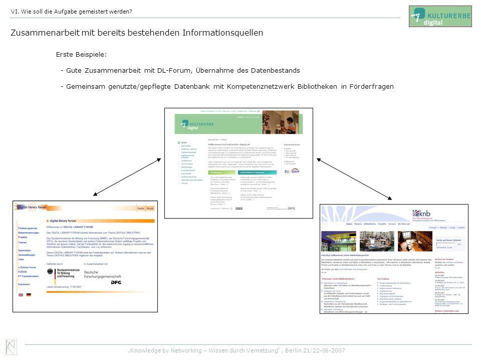 Zusammenarbeit mit bereits bestehenden Informationsquellen