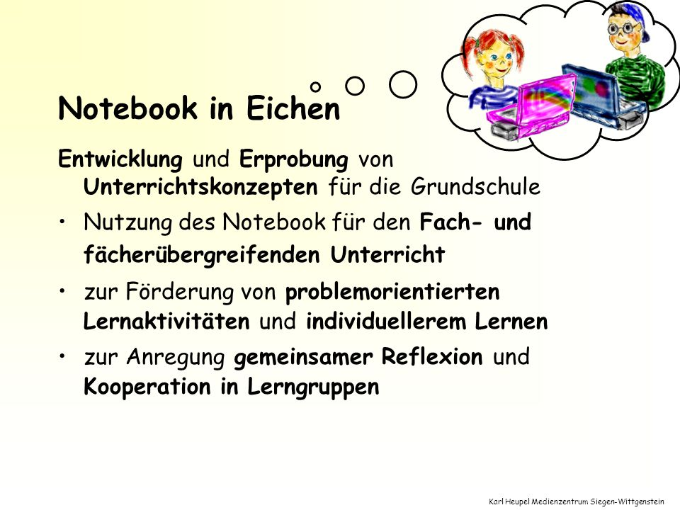 Notebook in Eichen Entwicklung und Erprobung von Unterrichtskonzepten für die Grundschule.