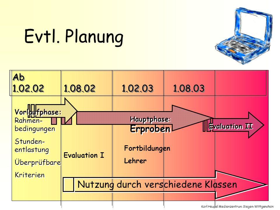 Evtl. Planung Ab 1.02.02. 1.08.02. 1.02.03. 1.08.03. Hauptphase: Erproben. Evaluation II. Vorlaufphase: Rahmen-bedingungen.