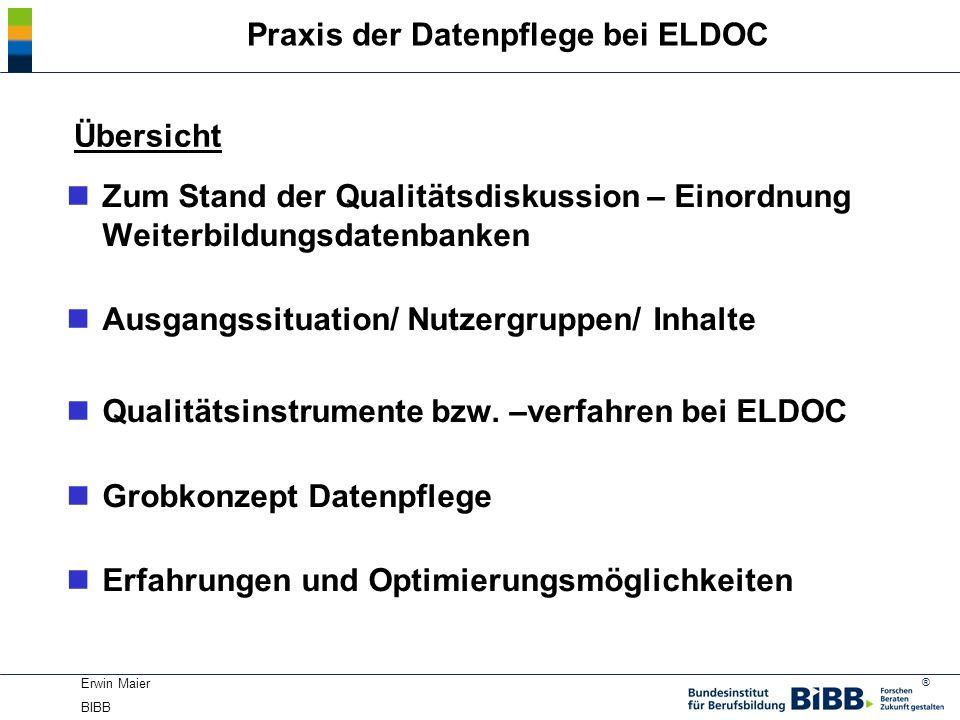 Praxis der Datenpflege bei ELDOC