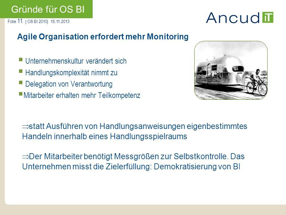 Gründe für OS BI Agile Organisation erfordert mehr Monitoring