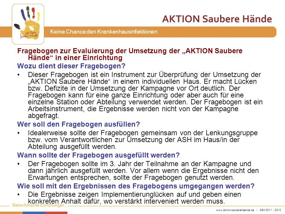"""Fragebogen zur Evaluierung der Umsetzung der """"AKTION Saubere Hände in einer Einrichtung"""