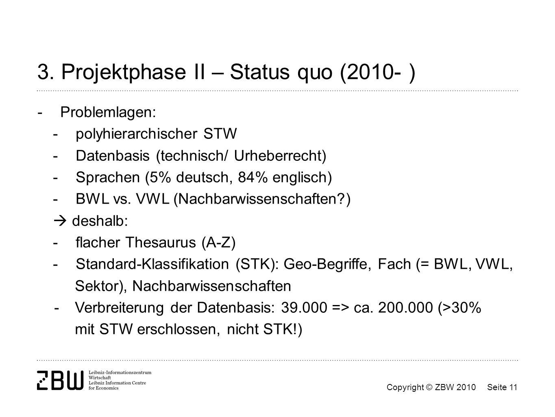 3. Projektphase II – Status quo (2010- )