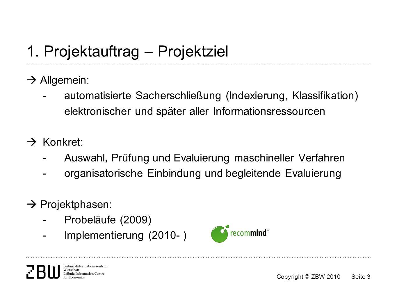 1. Projektauftrag – Projektziel