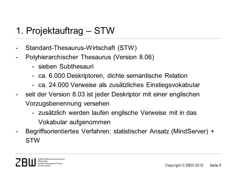 1. Projektauftrag – STW - Standard-Thesaurus-Wirtschaft (STW)