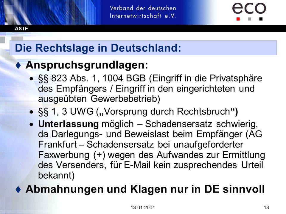 Die Rechtslage in Deutschland: