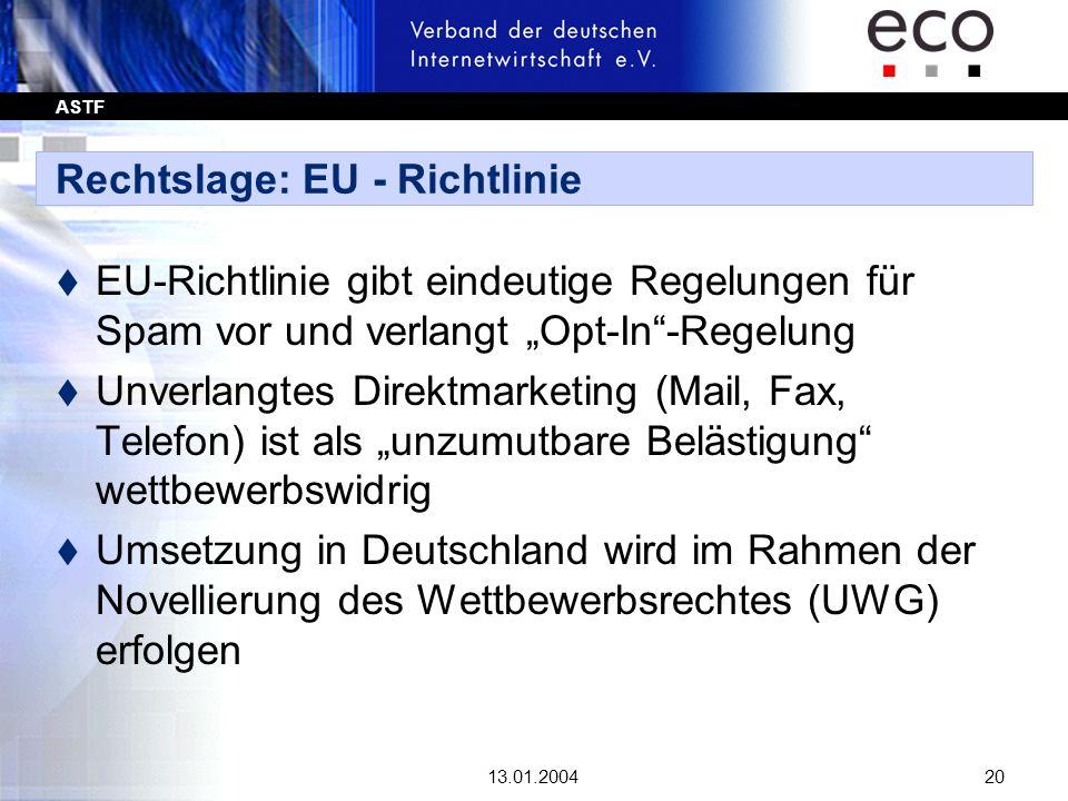 Rechtslage: EU - Richtlinie