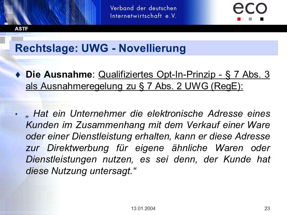 Rechtslage: UWG - Novellierung