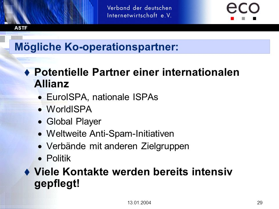Mögliche Ko-operationspartner: