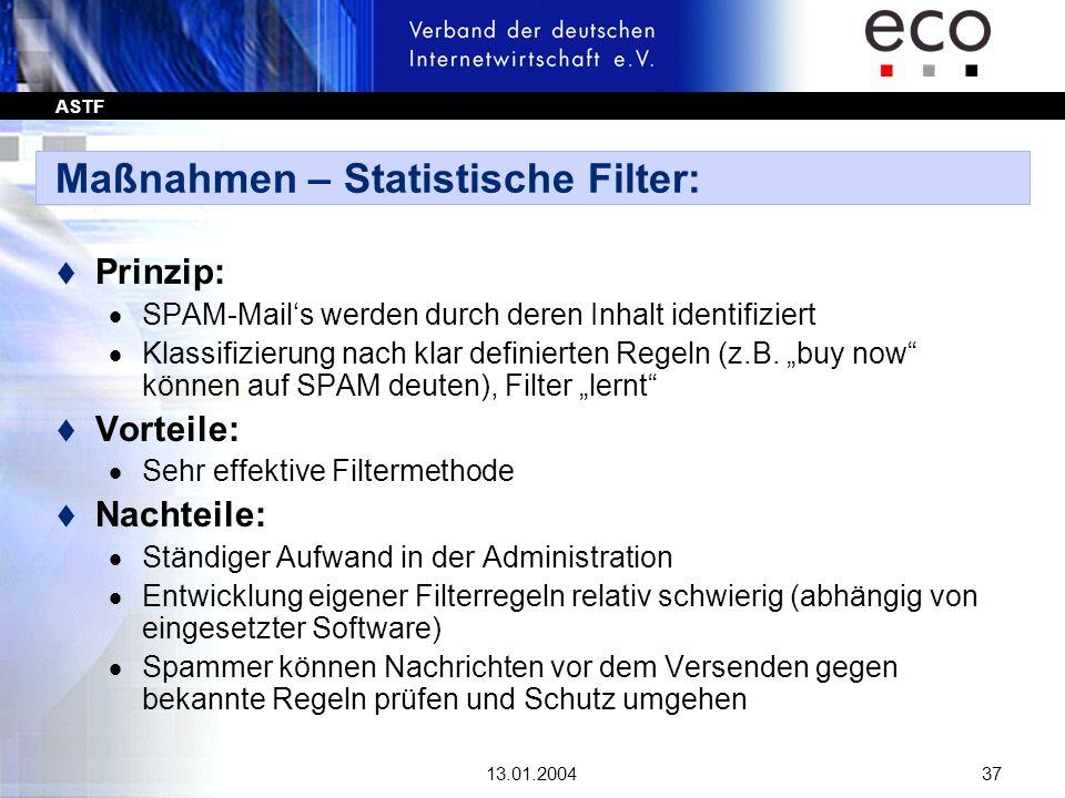 Maßnahmen – Statistische Filter: