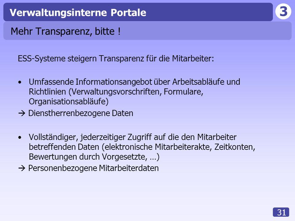 Mehr Transparenz, bitte !