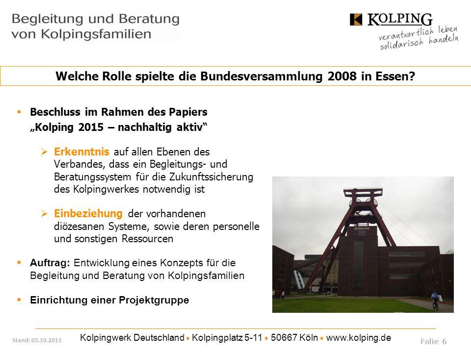 Welche Rolle spielte die Bundesversammlung 2008 in Essen