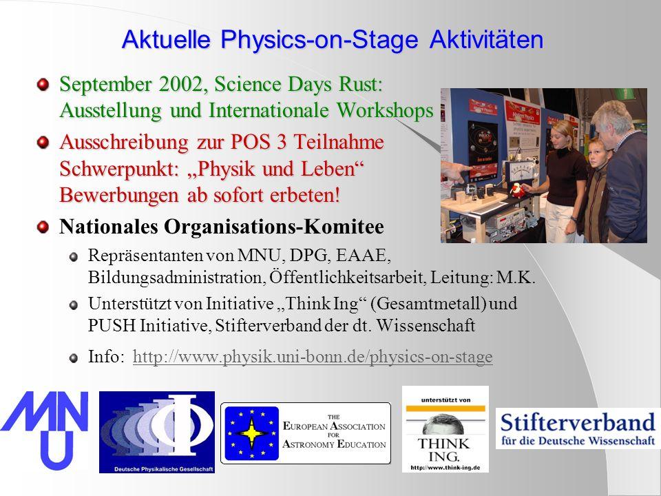 Aktuelle Physics-on-Stage Aktivitäten