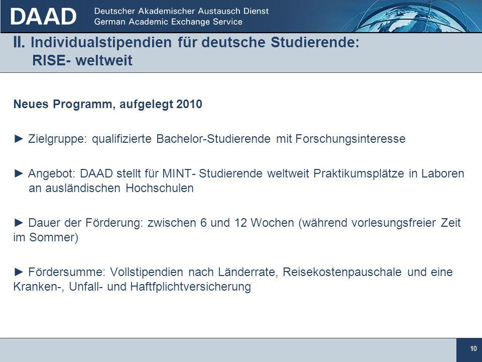 II. Individualstipendien für deutsche Studierende: RISE- weltweit