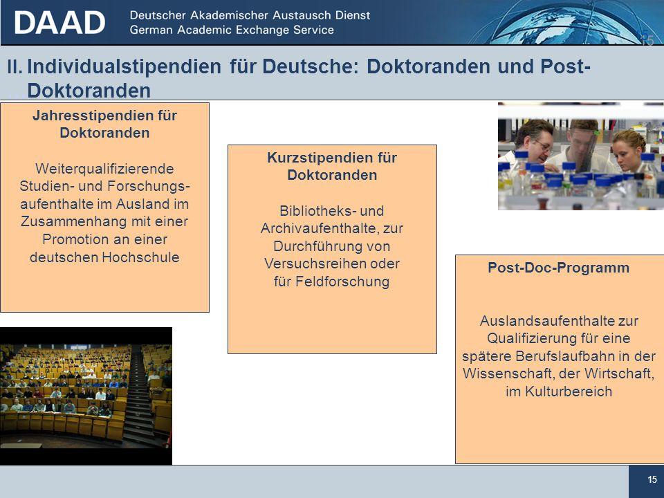 15 II. Individualstipendien für Deutsche: Doktoranden und Post- …Doktoranden. Jahresstipendien für.