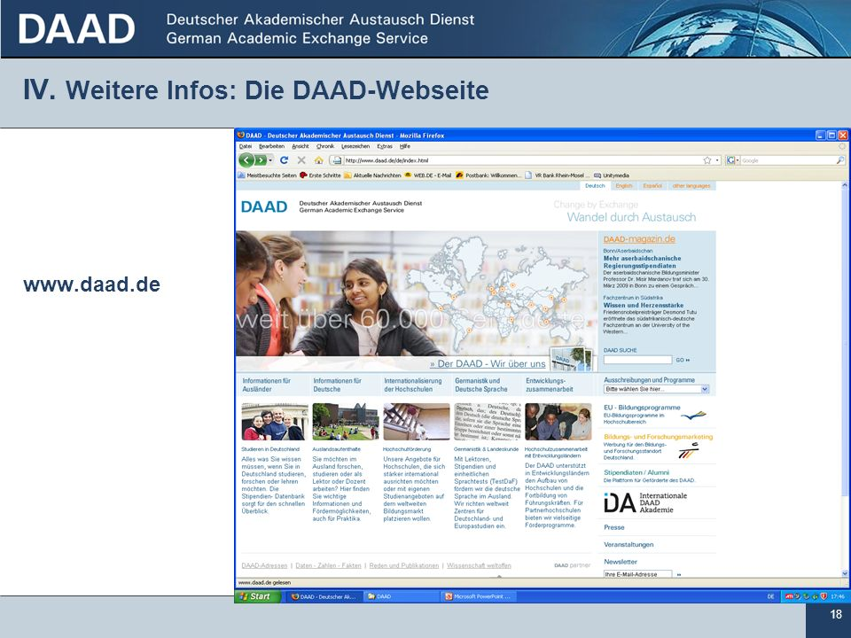 IV. Weitere Infos: Die DAAD-Webseite