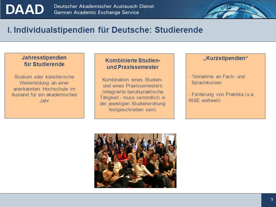 I. Individualstipendien für Deutsche: Studierende