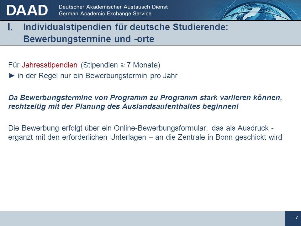 I. Individualstipendien für deutsche Studierende: