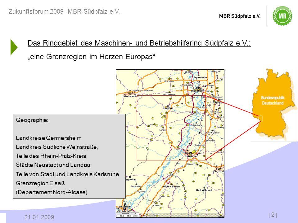 Das Ringgebiet des Maschinen- und Betriebshilfsring Südpfalz e.V.: