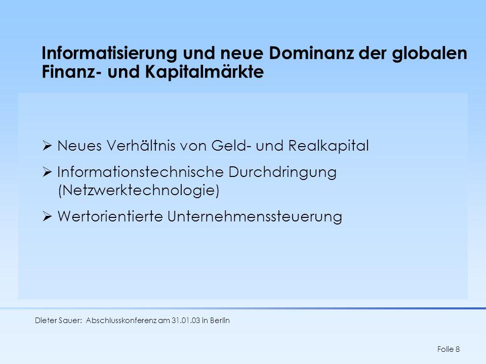 Informatisierung und neue Dominanz der globalen Finanz- und Kapitalmärkte