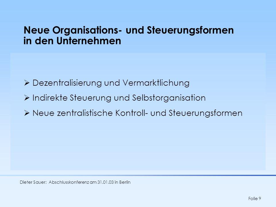 Neue Organisations- und Steuerungsformen in den Unternehmen