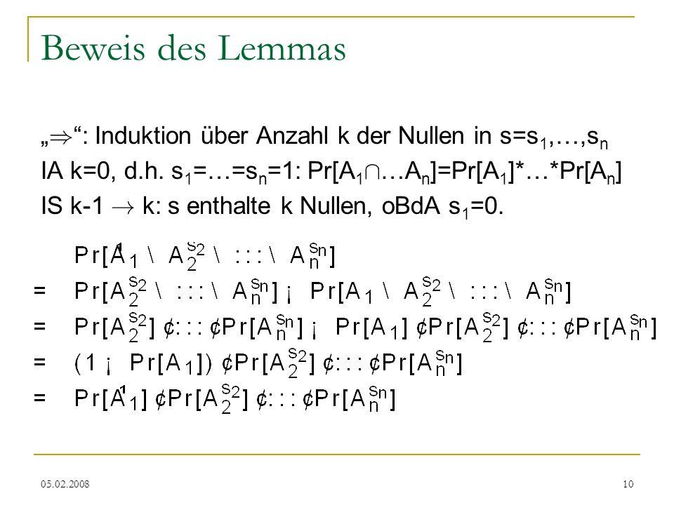 """Beweis des Lemmas """") : Induktion über Anzahl k der Nullen in s=s1,…,sn"""