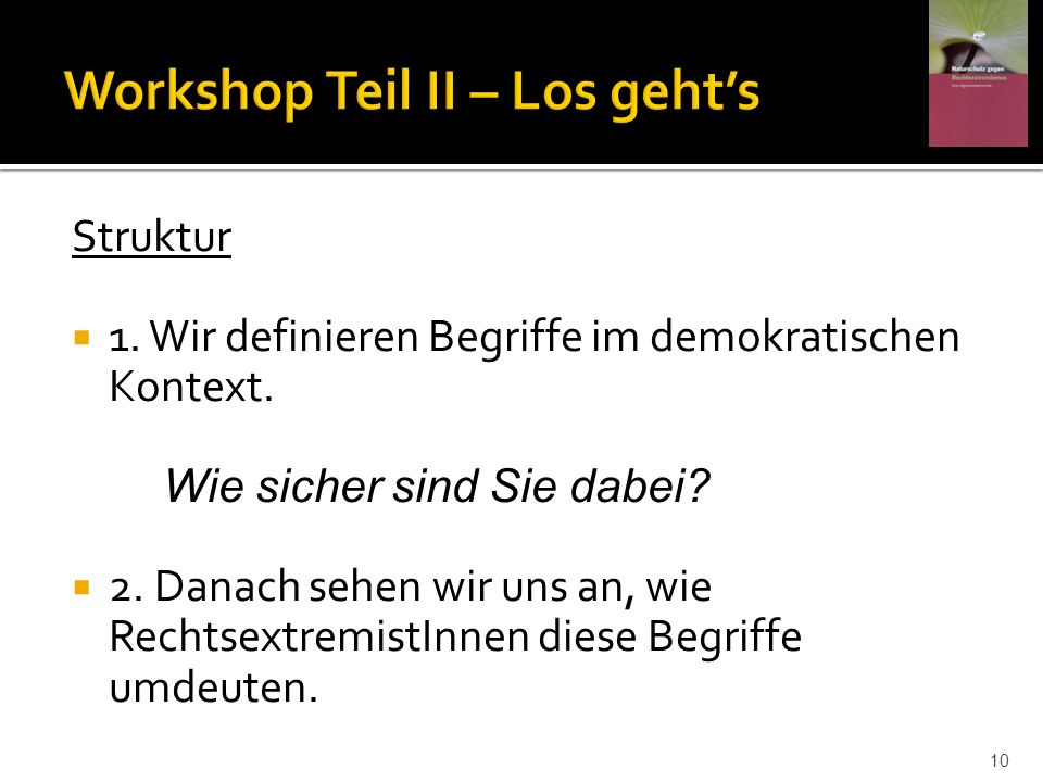 Workshop Teil II – Los geht's