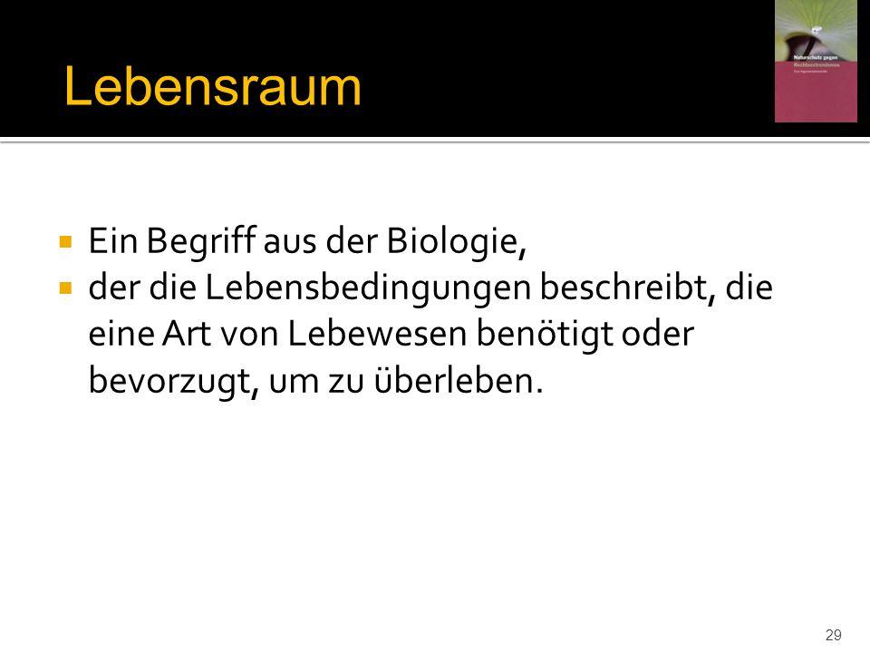 Lebensraum Ein Begriff aus der Biologie,