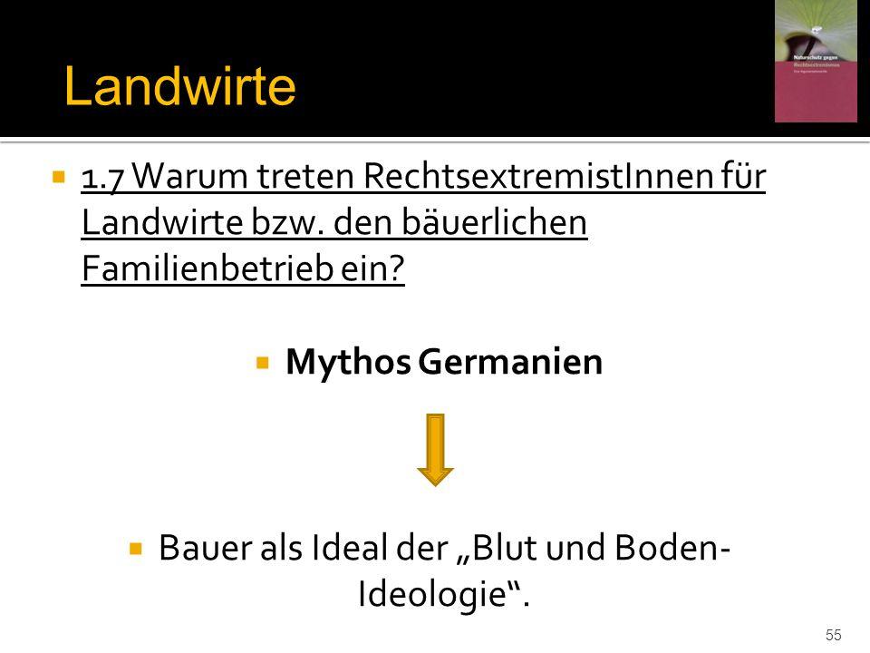 """Bauer als Ideal der """"Blut und Boden- Ideologie ."""