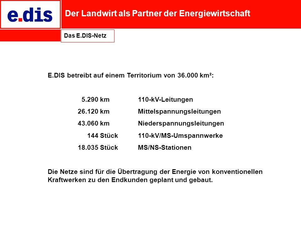 E.DIS betreibt auf einem Territorium von 36.000 km²:
